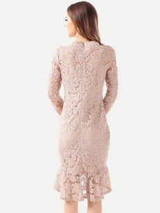 Vinfemass Solid Color Mermaid Hem Bodycon Lace Plus Size Party Cocktail Dress