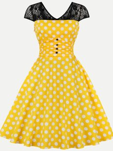 Vinfemass Retro Polka Dots Printing Lace Patchwork Plus Size Skater Dress