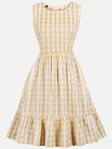 60s Yellow Plaid Sleeveless Swing Dress