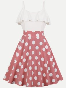 60s Color Block Polka Dots Ruffle Slip Dress