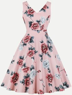 60s Floral Print Sleeveless Swing Dress