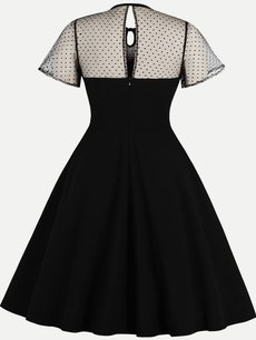 Vinfemass Mesh Patchwork Embroidery Plus Size Skater Dress