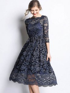 Vinfemass Square Collar Slim Lace Hollow Party Dress