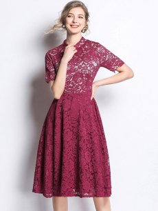Vinfemass Stand Collar Solid Color Slim Lace Party Dress