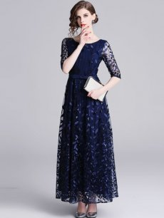 Blue Embroidered Lace Long Evening Dress