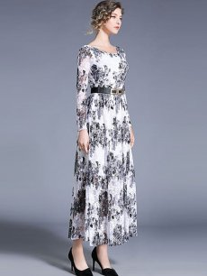 Floral Long Sleeve Lace Evening Dress