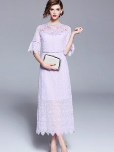 Purple Lace Long Evening Gown