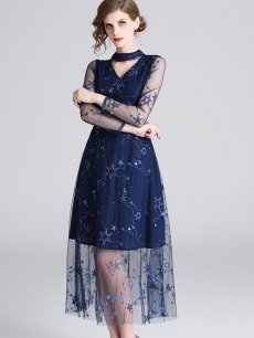 Blue Embroidered Lace Evening Dress