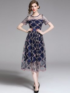 Blue Embroidered Mesh Evening Dress