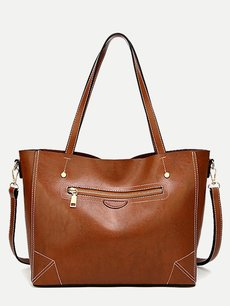 Classic Stitch Trim Medium Solid Tote Bag