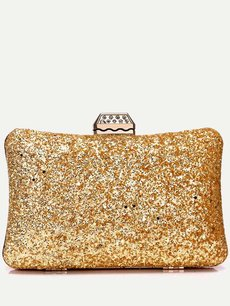 Sequins Decor Glitter Pillow Shape Clutch Bag With Chain
