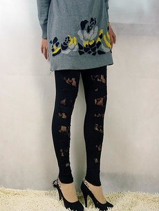 Solid Tieback Lace Black Leggings