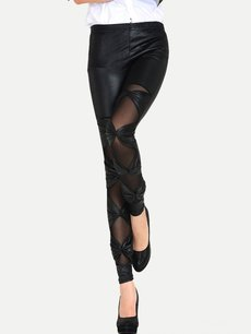 Sexy Black Mesh Patchwork Bowknots Leggings