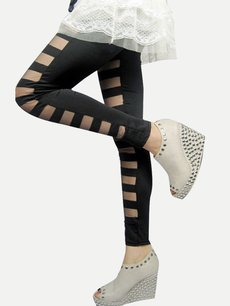 Black Mesh Patchwork Leggings