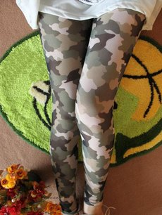 Thin Camo Print Elasticated Leggings