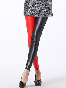 Vinfemass Sexy Color Block Leatherette Leggings