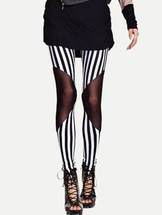 Sexy Stripes Print Mesh Patchwork Leggings