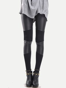 Vinfemass Sexy Black Cotton Patchwork Slim Leggings