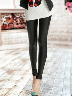 Vinfemass Sexy Black Cotton Leatherette​ Patchwork Leggings