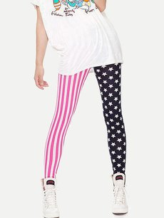 Vinfemass Cheap Cute Stripes Stars Printing Slim Leggings