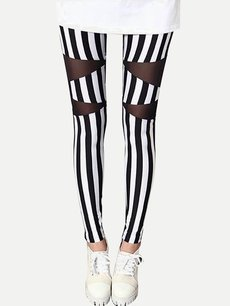 Sexy Stripes Printing Mesh Patchwork Slim Leggings