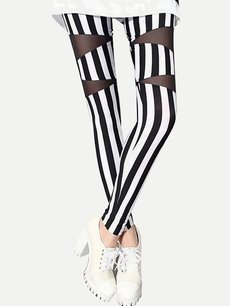 Vinfemass Sexy Stripes Printing Mesh Patchwork Slim Leggings