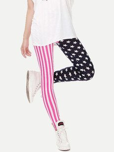 Cheap Cute Stripes Stars Printing Slim Leggings