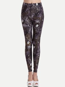 Vinfemass Sexy Snake Printing Cotton Slim Leggings