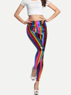 Vinfemass Sexy Rainbow Printing PU Leather Leggings