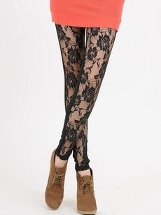 Sexy Black Lace Patchwork Leggings