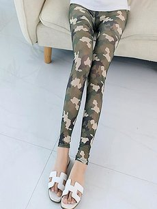 Vinfemass Thin Camo Printing Elasticated Leggings