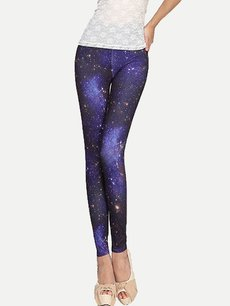 Vinfemass Sexy Star Printing Slim Leggings
