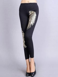Vinfemass Sexy Black Cotton Sequins Wings Shape Leggings