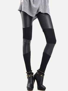 Sexy Black Cotton Patchwork Slim Leggings
