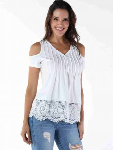 White Off Shoulder Lace Tee