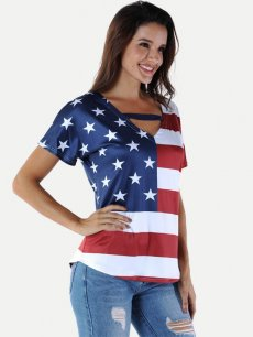 Womens T-shirts Fashion Summer Casual US American Flag Stars Print Striped Short Sleeve Cotton Tee T Shirts Tops