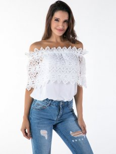 White Boat Neck Lace Tee
