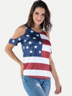 American Stars Striped Off Shoulder Tee