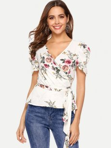 Sexy V Neck Floral Belted Blouse