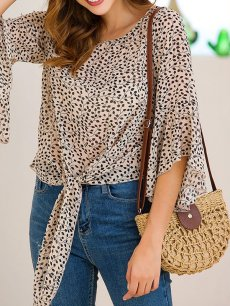 See through Leaves Chiffon Blouse