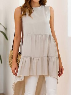 High Low Sleeveless Long Blouse