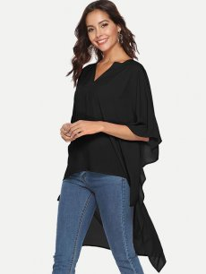 Womens Chiffon Blouse Summer Sexy Casual Solid Color V Neck Batwing Sleeve Irregular Long Ladies Shirt