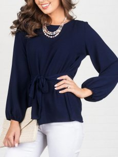 Solid Belted Chiffon Blouse