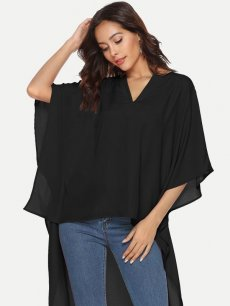 Vinfemass Solid Color V Neck Batwing Sleeve Chiffon Blouse Shirt