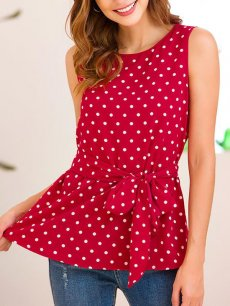 Polka Dots Sleeveless Belted Blouse