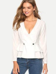 Womens Chiffon Blouse White Summer Sexy Casual V Neck Solid Color Long Sleeve Ladies Shirt