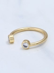 Rhinestone Engraved Open Ring
