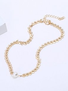 Womens Pendant Necklace Fashion Vintage Faux Pearls Scales Gold Necklace