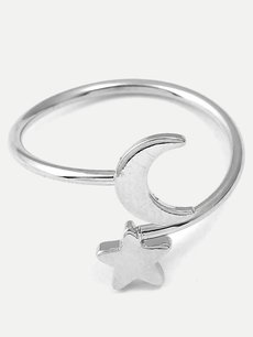 Silver Star & Moon Shape Ring