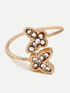 Rhinestone Engraved Butterfly Gold Ring